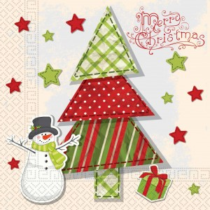 THREE PLY NAPKINS 33X33CM  QUITED XMAS TREE 20CT
