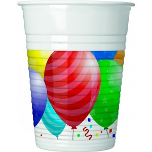 BALLOONS CELEBRATION PLASTIC CUPS 200 ML 8CT