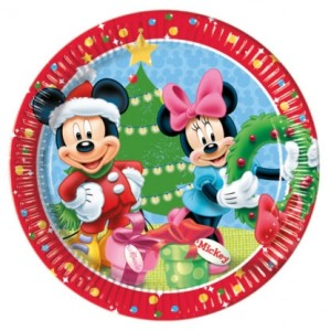 MICKEY CHRISTMAS TIME PAPER PLATES LARGE 23CM 8CT