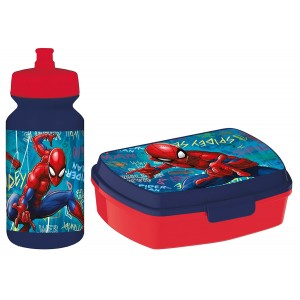 SPIDERMAN FUNNY SBOX AND PUSHUP SPORTS BOTT 340ML