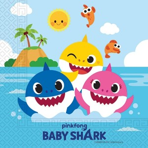 BABY SHARK TWO PLY PAPER NAPKINS 33X33CM 20CT