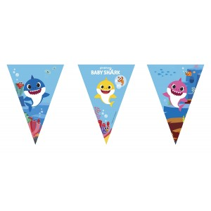 BABY SHARK PAPER TRIANGLE FLAG BANNER 1CT