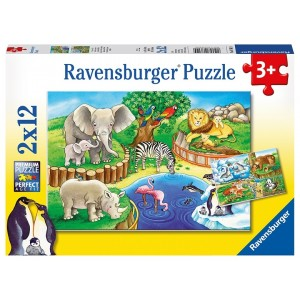 2X12PC PUZZLES-ANIMALS IN THE ZOO