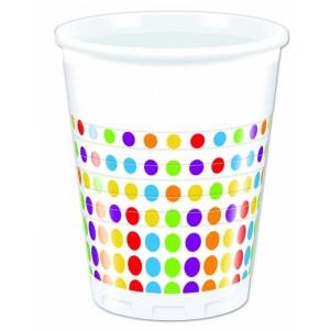 BRIGHT COLOR DOTS PLASTIC CUPS 200ML 8CT