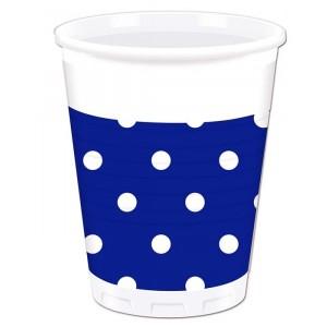 BLUE ROYAL DOTS PLASTIC CUPS 200ML 8CT