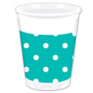 TURQUOISE DOTS PLASTIC CUPS 200ML 8CT