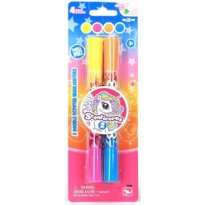 SCENTICORNS 2 SCENTED DOUBLE END HIGHLIGHTERS ASST