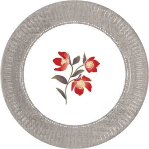 BLOOMING POPPIES PAPER PLATES 23CM 8CT