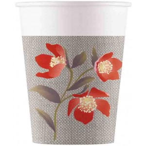 BLOOMING POPPIES PAPER CUPS 200ML 8CT