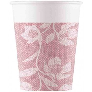 TEXTURE PINK FLOWERS PAPER CUPS 200ML 8CT
