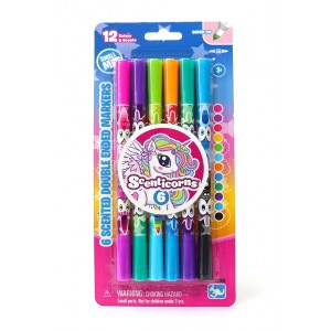 SCENTICORNS 6 SCENTED DOUBL END STIP MARKERS ASST