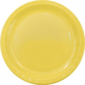 YELLOW PAPER PLATES LARGE 23CM 8CT
