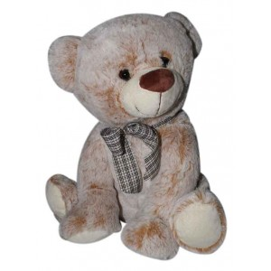 PLUSH 30CM LIGHT-BROWN BEAR WITH BOW KNOT