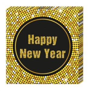 HAPPY NEW YEAR THREE PLY PNAPKINS 33X33CM 20CT