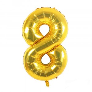 12 INCH AIRFILLED GOLD FOIL BALLOON 8 1CTP