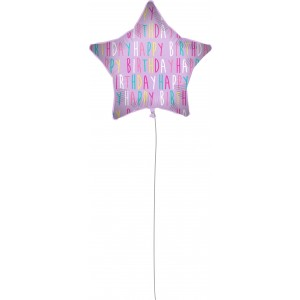 18 INCH AIR-HELIUM FOIL  BIRTHDAY PURPLE STAR 1CTP