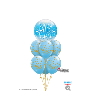 22 INCH SINGLE BUBBLE BABY BOY BLUE & CONFETTI DOT