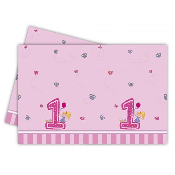 GIRLS FIRST BIRTHDAY PLASTIC TCOVER 120X180CM 1CT