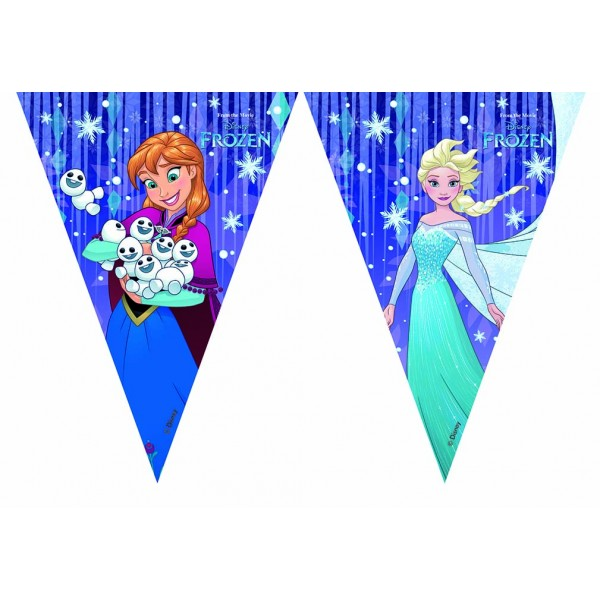 Frozen Snowflakes Triangle Flag Banner 1ct